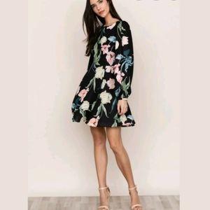 NWT Yumi Kim Wild Love Black Floral Shift Dress, S